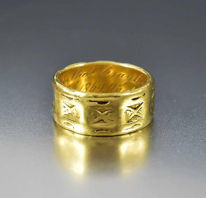 Antique Victorian Memorial 18K Gold Band Ring - Boylerpf - 1