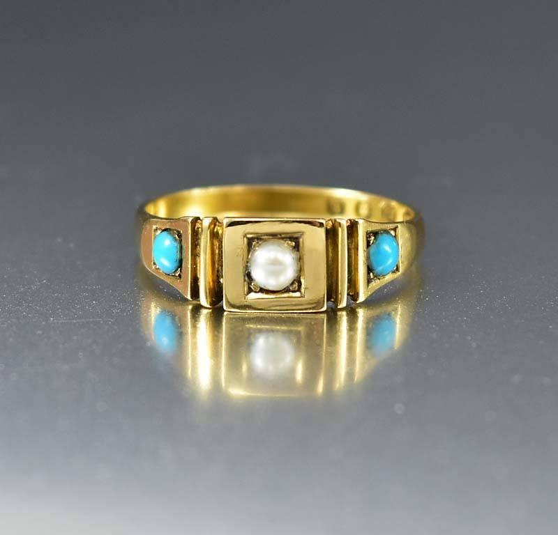 Victorian 18K Gold Pearl Turquoise Ring Band C. 1880s - Boylerpf