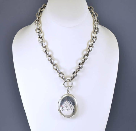 Victorian Sterling Silver Antique Locket Pendant
