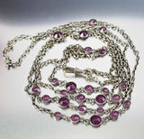 Amethyst Silver Victorian Pocket Watch Chain Necklace - Boylerpf