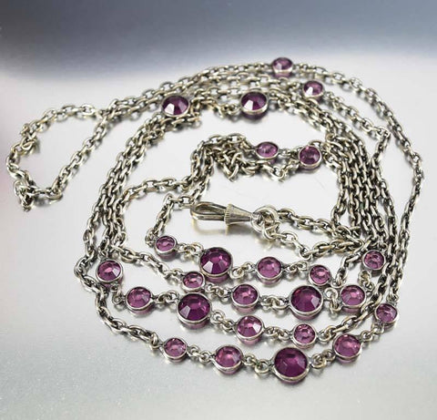 Amethyst Silver Victorian Pocket Watch Chain Necklace