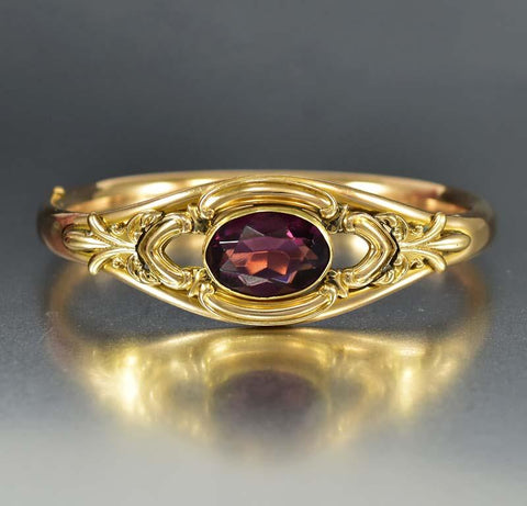 Antique Simulated Amethyst Gold Filled Bracelet
