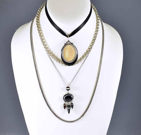 Victorian Sterling Scottish Banded Agate Pendant Necklace