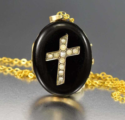 Victorian 14K Gold Pearl Black Enamel Locket Antique Pendant