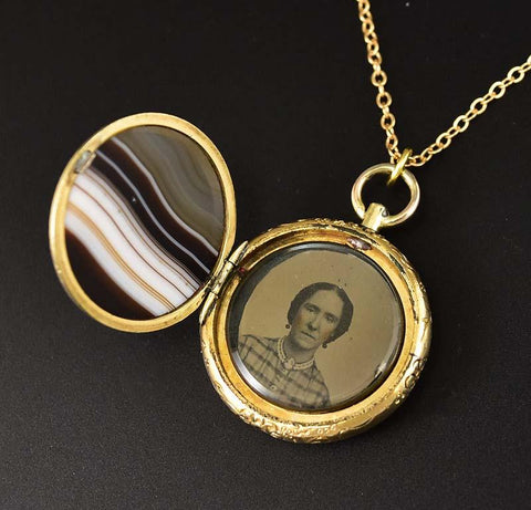 2nd Payment Fine Antique Banded Agate Fob Locket Pendant, C. 1850