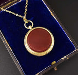 2nd Payment Fine Antique Banded Agate Fob Locket Pendant, C. 1850 - Boylerpf