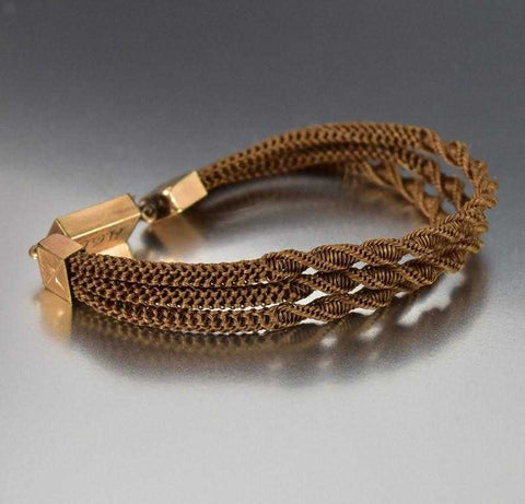 Antique Victorian Braided Hair Bracelet Mourning Jewelry