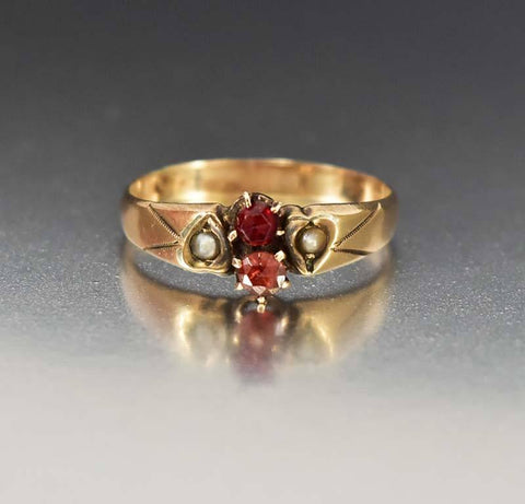 Antique Gold Seed Pearl Heart Garnet Ring