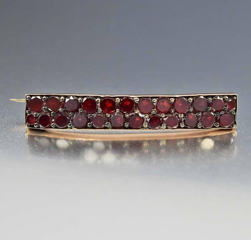 Rose Gold Antique Bohemian Garnet Bar Brooch - Boylerpf