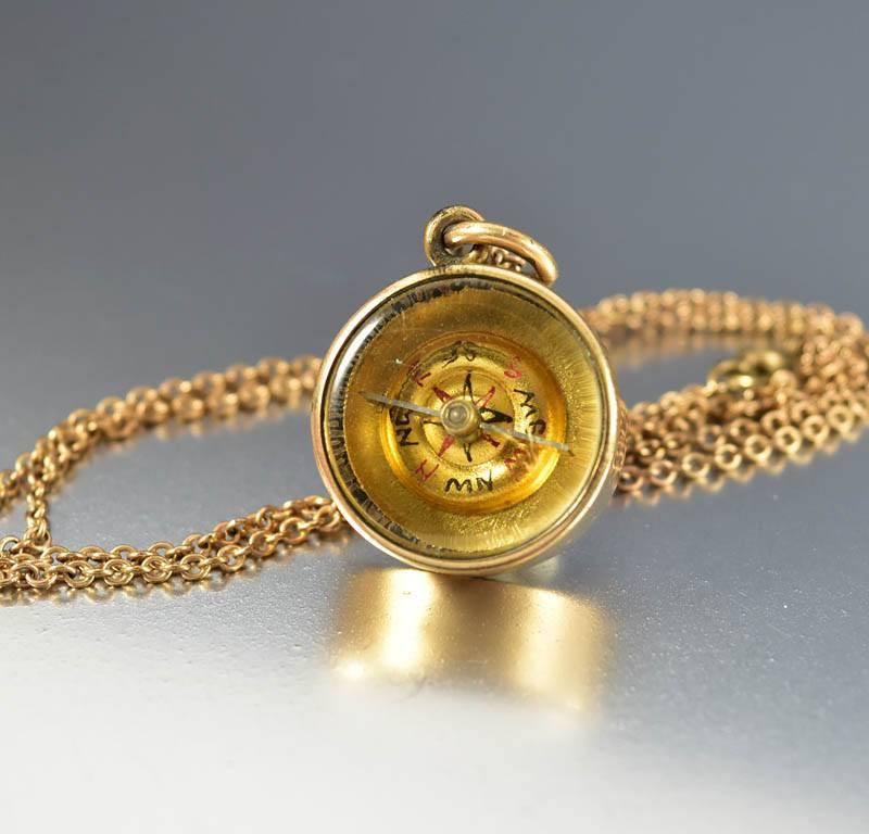 Victorian Watch Fob Compass Necklace Antique Charm - Boylerpf