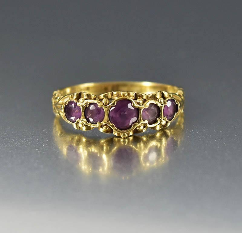 Victorian Antique Gold Five Stone Amethyst Ring - Boylerpf - 1