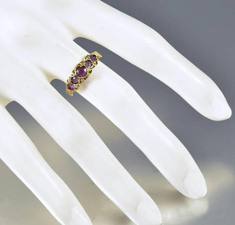 Victorian Antique Gold Five Stone Amethyst Ring
