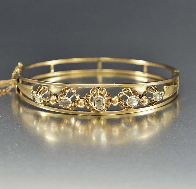 Antique Gold Rose Cut Diamond Bangle Bracelet - Boylerpf