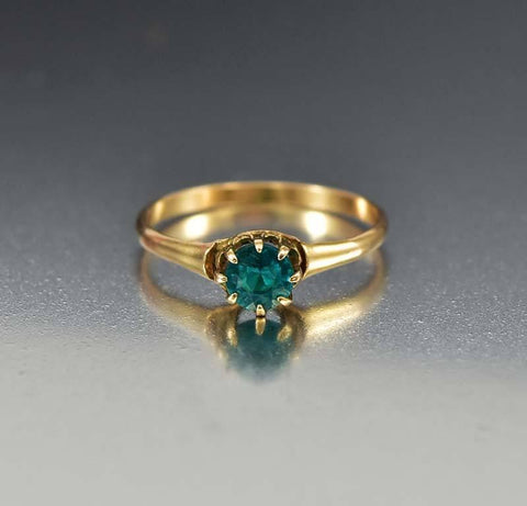 Emerald 12K Gold Antique Victorian Engagement Ring