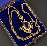 Superb Gold, Amethyst and Pearl Pendant Necklace - Boylerpf