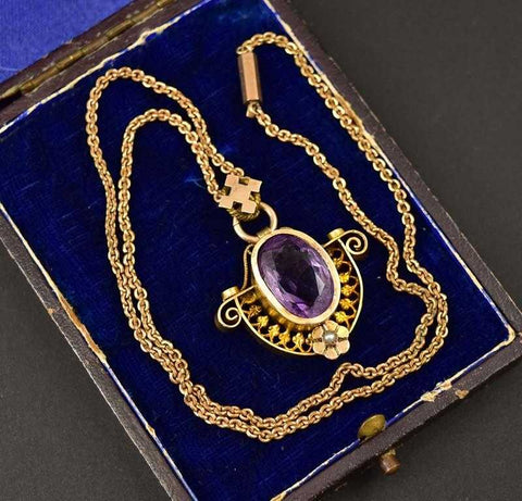 Superb Gold, Amethyst and Pearl Pendant Necklace