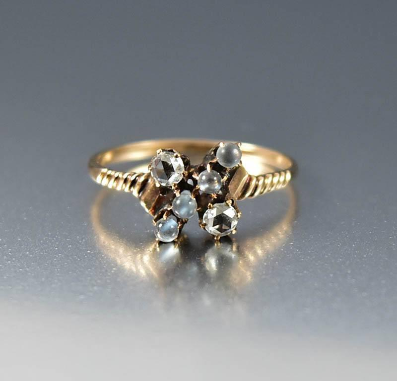 Victorian Moonstone Antique Gold Diamond Ring - Boylerpf - 1