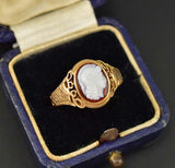 Antique Gold Engraved Stag and Sardonyx Cameo Ring - Boylerpf