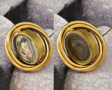 Antique Gold Swivel Victorian Locket Brooch Mourning Jewelry - Boylerpf