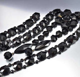 Antique Victorian Mourning French Jet Glass Necklace - Boylerpf