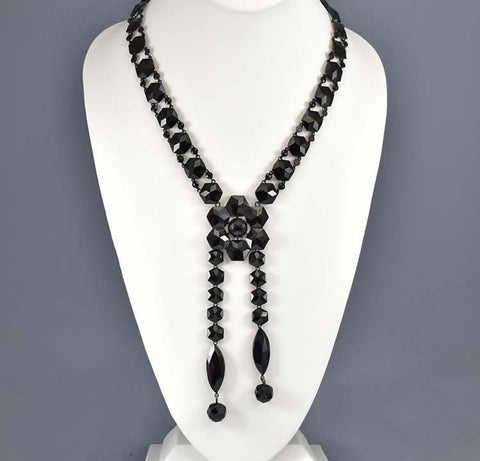 Antique Victorian Mourning French Jet Glass Necklace