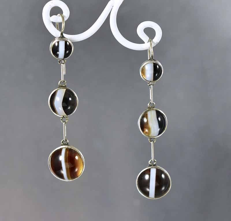 Victorian Scottish Banded Agate Dangle Earrings - Boylerpf - 1