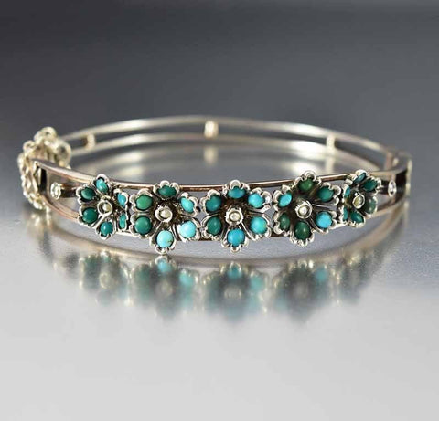 Victorian Pearl Turquoise Flower Bangle Bracelet