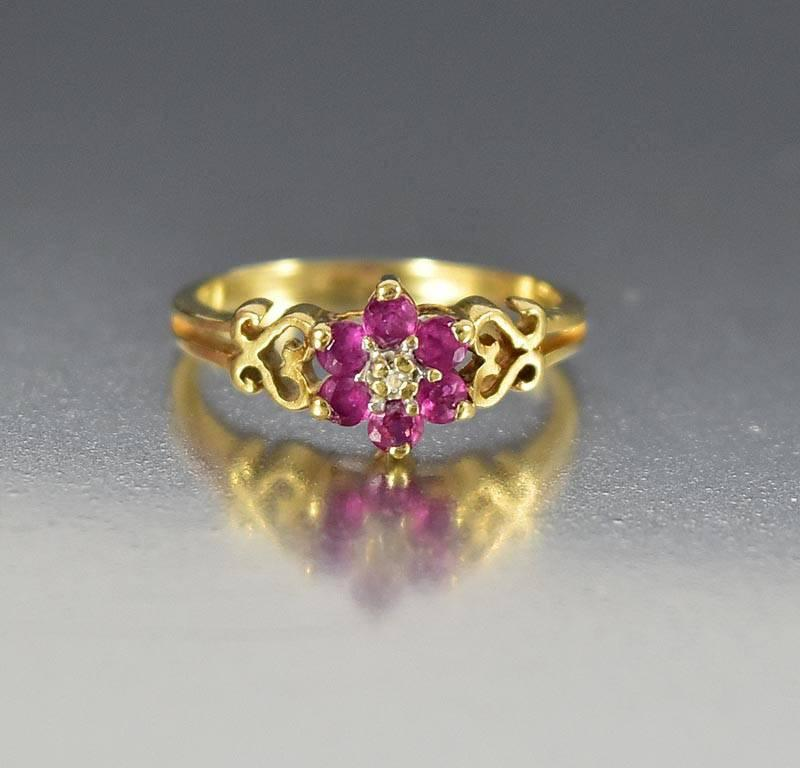 Vintage Estate 10K Gold Heart Diamond Ruby Ring - Boylerpf