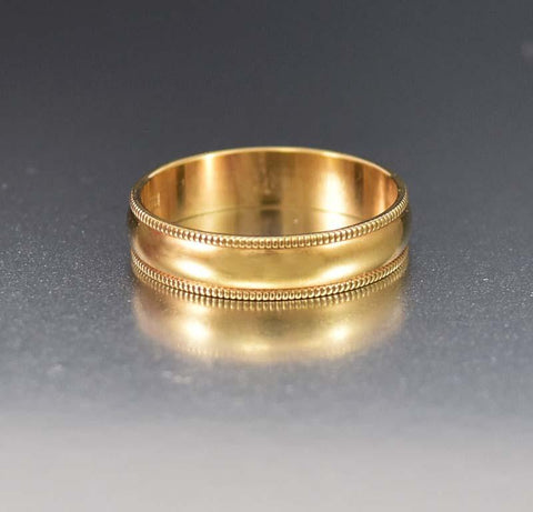 Perfect 18K Gold Victorian Mizpah Band Ring