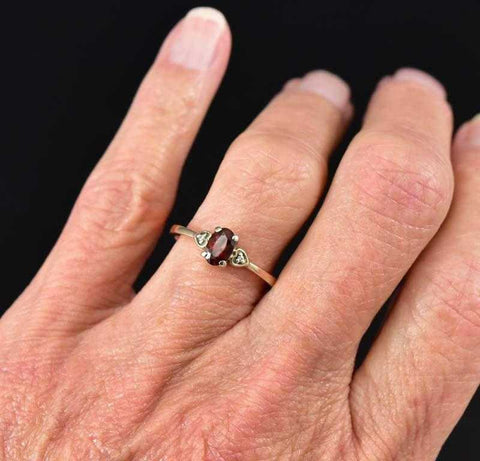 Vintage 10K Gold Diamond Heart Garnet Ring