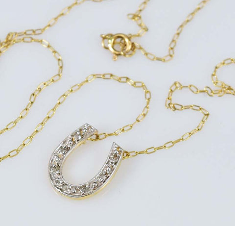 Good Luck 10K Gold Diamond Horseshoe Necklace