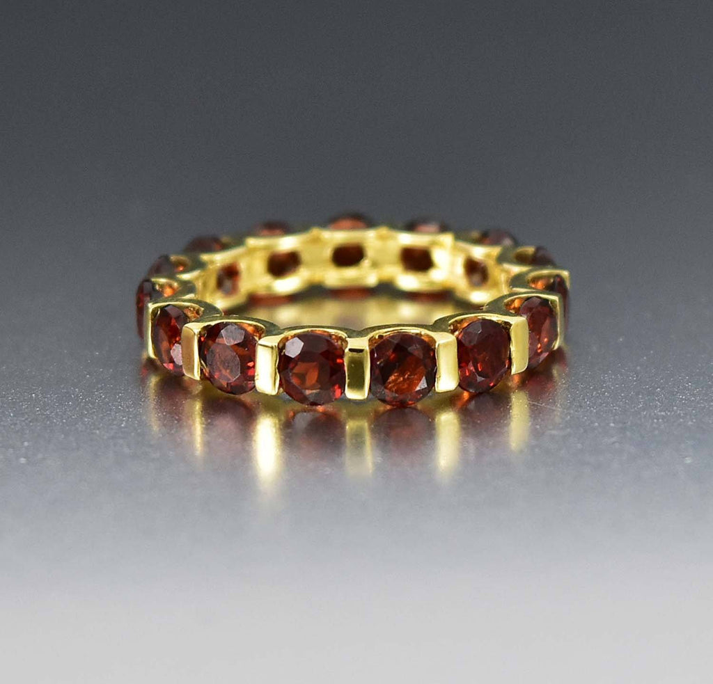 10K Gold Vintage Garnet Eternity Birthstone Ring - Boylerpf