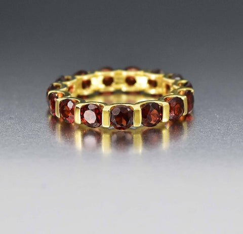 10K Gold Vintage Garnet Eternity Birthstone Ring