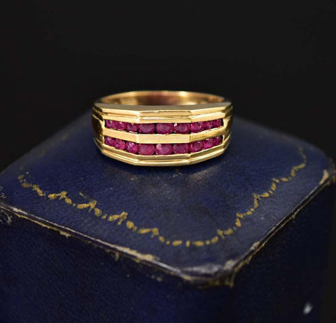 Fabulous Wide Gold Channel Set Ruby Band Ring