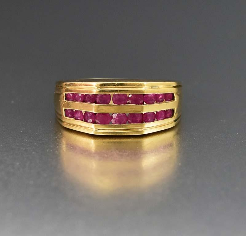 Fabulous Wide Gold and Channel Set Ruby Band Ring - Boylerpf