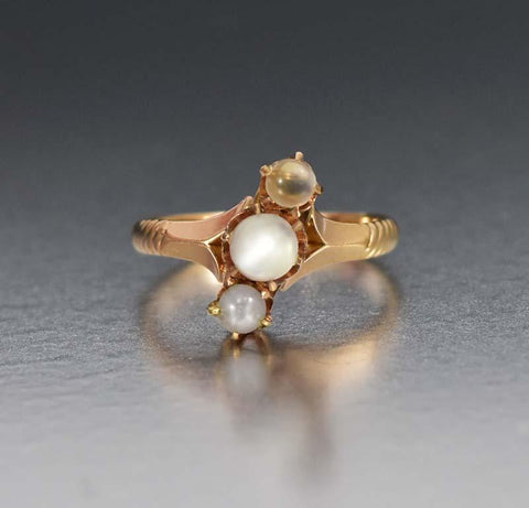 10K Rose Gold Vintage Moonstone Victorian Ring