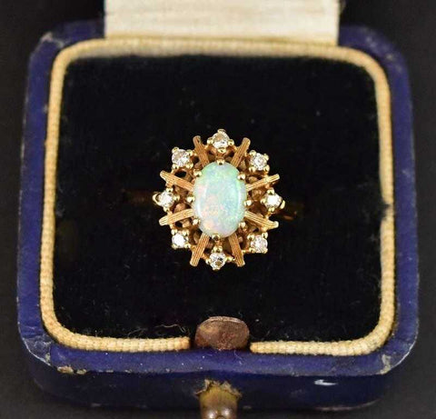 Vintage 14K Gold Opal and Diamond Cluster Ring