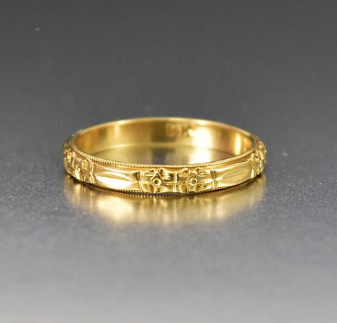 Art Deco 14K Gold Vintage Orange Blossom Wedding Band