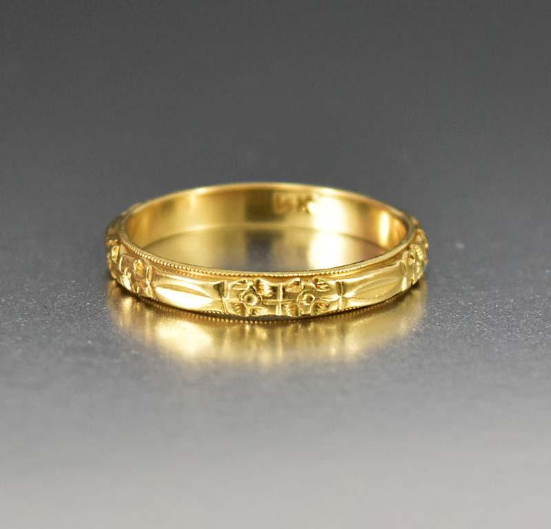 Art Deco 14K Gold Vintage Orange Blossom Wedding Band - Boylerpf