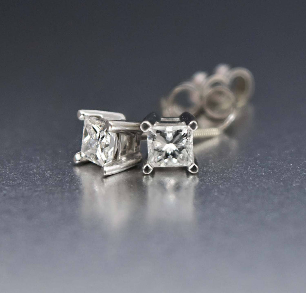 14K White Gold Princess Cut Vintage Diamond Earrings - Boylerpf