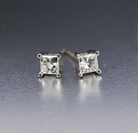 14K White Gold Princess Cut Vintage Diamond Earrings