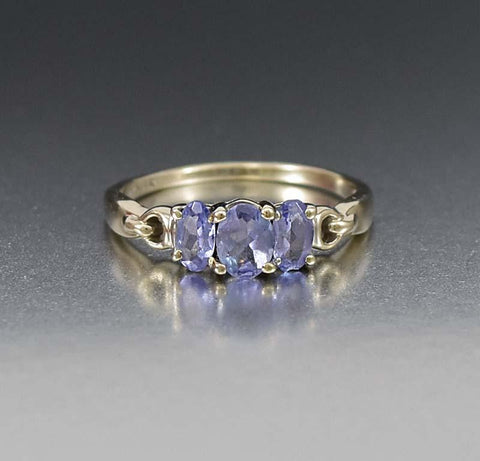 Art Deco White And Blue Topaz Engagement R