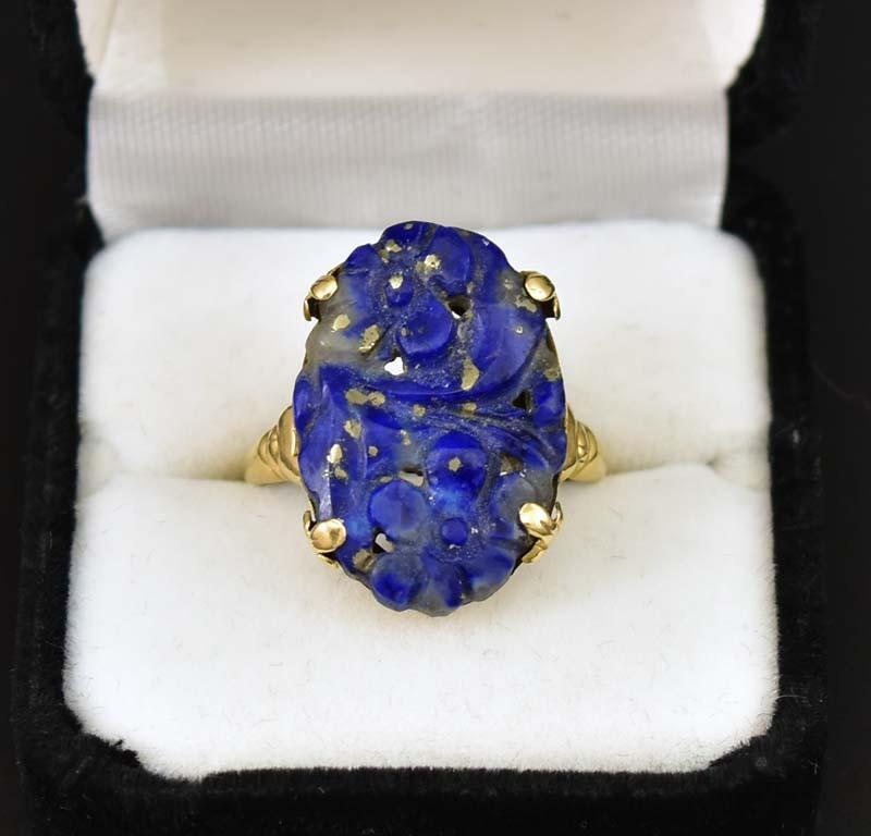 Amazing Art Deco Walter Lampl Gold and Lapis Lazuli Ring - Boylerpf