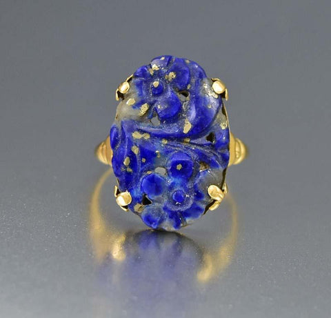 Amazing Art Deco Walter Lampl Gold and Lapis Lazuli Ring