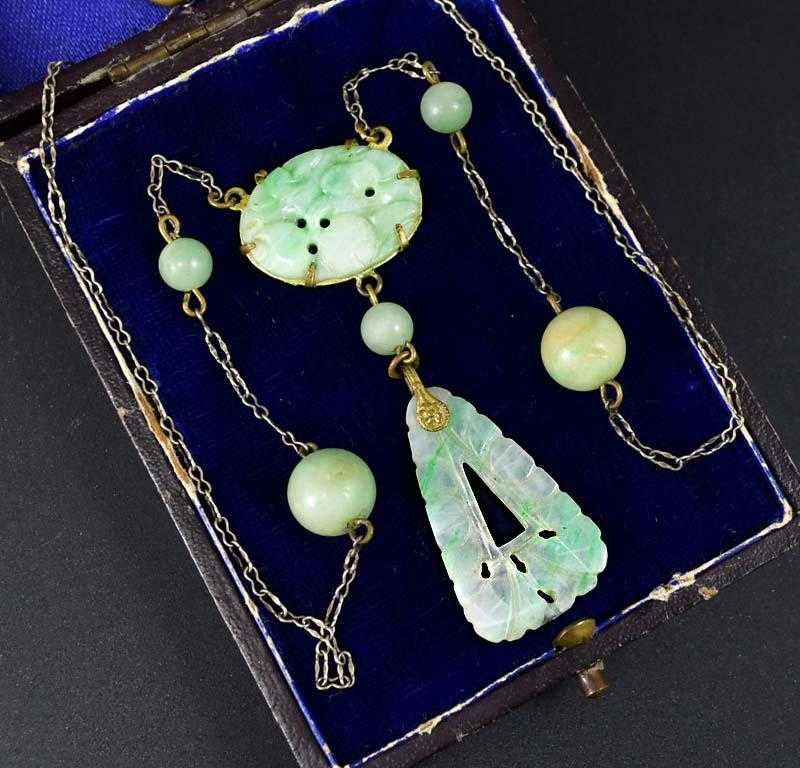 Vintage Carved Oriental Chinese Jade Necklace 1920s - ON HOLD - Boylerpf