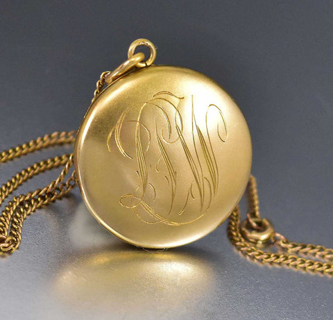 10K Gold Chain Edwardian Locket Necklace 1900s