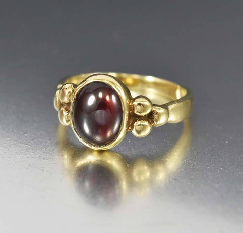 Art Deco Garnet Engagement Ring Silver Filigree