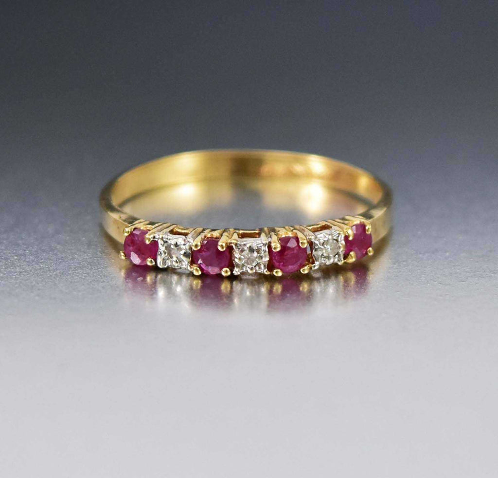 Art Deco 10K Gold Diamond Ruby Ring Vintage 1940s - Boylerpf