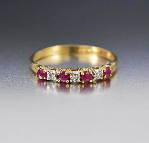 Art Deco 10K Gold Diamond Ruby Ring Vintage 1940s