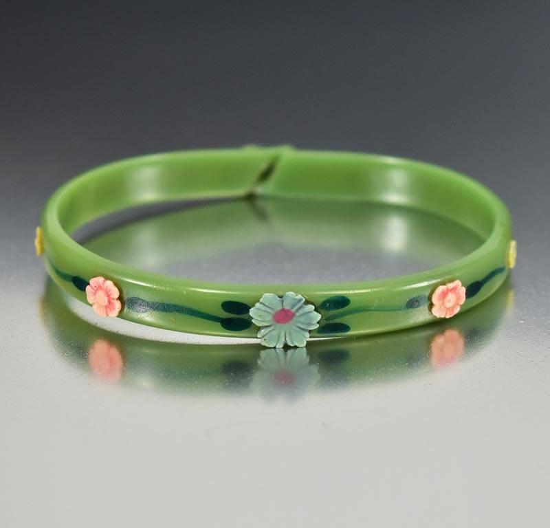 Art Deco Green Flower Celluloid Bangle Bracelet ON HOLD - Boylerpf